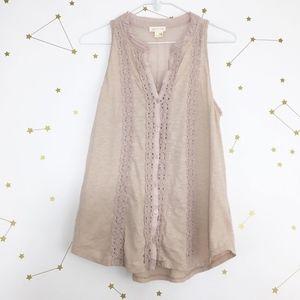 Anthro • Meadow Rue Blush Pink Jenson Crochet Tank